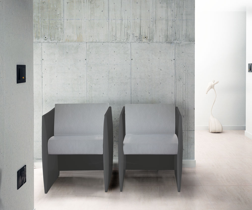 SELLIA chaise anthracite, assise gris clair